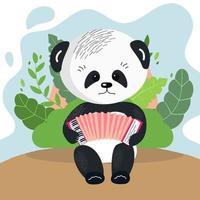 O panda fofo toca o animaizinho acordeão com um instrumento musical isolado no fundo. vetor