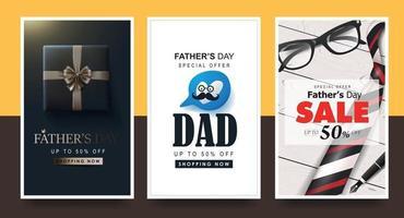 modelo de fundo de banner de venda feliz dia dos pais vetor