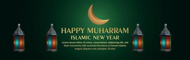 banner ou cabeçalho de celebração de feliz ano novo islâmico muharram vetor