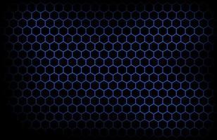 fundo escuro de tecnologia moderna com hexágono azul malha abstrata metal textura geométrica ilustração vetorial simples vetor