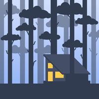 Cabine morna moderna em um meio de uma ilustração de árvores altas da floresta vetor