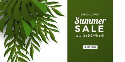 modelo de banner de promoção de oferta de venda de verão com moldura de folhas tropicais botânicas verdes com fundo branco e verde vetor