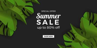 modelo de banner de promoção de oferta de venda de verão com folhas tropicais botânicas verdes moldura com fundo preto vetor