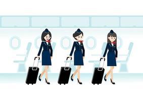 personagem de desenho animado com três belas aeromoças segurando a mala de viagem no passageiro do jato e a linha de assentos de voo ou aeronave no vetor de ícone plana de cabine
