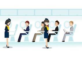 personagem de desenho animado com a bela aeromoça no passageiro de jato da sala de classe executiva e a linha de assentos de voo ou aeronave em vetor de estilo de ícone plana de cabine