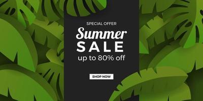 modelo de banner de promoção de oferta de venda de verão com folhas tropicais botânicas verdes selva grupo com fundo preto vetor