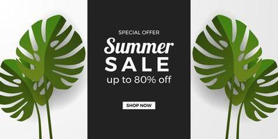 modelo de banner de promoção de oferta de venda de verão com folhas verdes monstera tropical com fundo preto e branco vetor