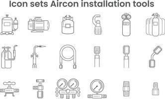 ícone define ferramentas de instalação de ar condicionado vetor