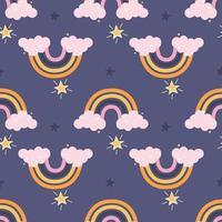 colorido arco-íris fofo com nuvens cor de rosa e estrelas em um fundo roxo vetor decoração padrão sem emenda para crianças pôsteres cartões postais roupas e decoração de interiores