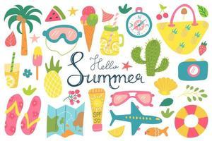 verão praia conjunto de elementos com letras de mão em um fundo branco, recreação, turismo, imagens vetoriais em estilo simples vetor