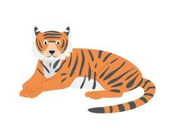 um tigre fofo e engraçado está deitado sobre uma imagem vetorial de fundo branco em uma decoração de estilo plano de desenho animado para crianças pôsteres cartões postais roupas e interiores vetor