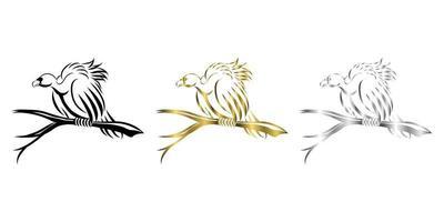vetor linha arte ilustração três cores preto ouro prata de um abutre está empoleirado em uma árvore morta para esperar pela vítima