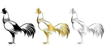 vetor linha arte ilustração logotipo de um galo pequeno está em pé há três cores preto ouro prata