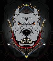 modelo de design de emblema de bulldog pitbull em design de logotipo de colarinho pontiagudo para equipe de esporte vetor