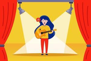 menina guitarrista se apresenta no palco ilustração vetorial plana vetor