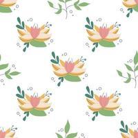 linda flor rosa e amarela fofa com elementos decorativos de plantas em um fundo branco vetor padrão sem emenda em um papel de parede de decoração floral estilo simples