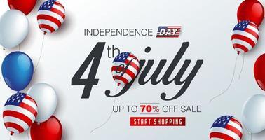 modelo de banner de promoção de venda dos EUA no dia da independência vetor