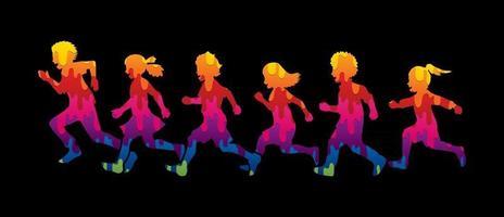 grupo abstrato de crianças correndo juntas vetor