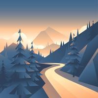 Visão de primeira pessoa de caminho de vale de montanha vetor