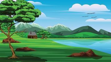 ilustração de uma vista de montanhas, lago, árvores, gramado, e uma pequena casa à beira do lago, era um dia em que o céu estava claro e a atmosfera estava clara vetor