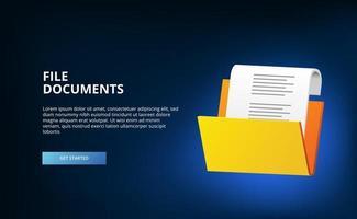 A pasta aberta 3D contém o conceito de ilustração de documentos de arquivo para administração corporativa de diretório com fundo escuro vetor