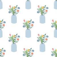 flores lindas fofas em uma jarra de vidro padrão sem emenda de vetor em um estilo simples em um papel de parede decorativo floral de fundo branco
