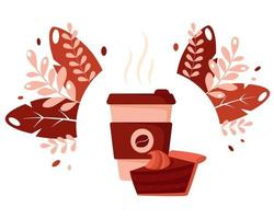 copo de papel do dia internacional do café com bebida quente de bolo de chocolate vetor