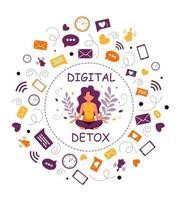 mulher digital de desintoxicação e meditação meditando na posição de lótus vetor