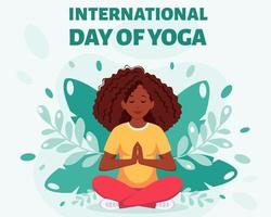 mulher afro-americana meditando na posição de lótus - dia internacional da ioga vetor