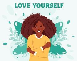 conceito de amor a si mesma mulher negra se abraçando vetor