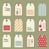 Tag coloridos do presente do Natal vetor
