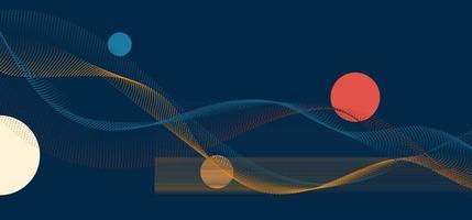 partículas abstratas pontilham linhas de ondas com elementos de círculos em fundo azul vetor