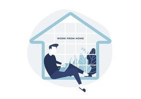 homem sentado em uma casa com um notebook na mão conceito de trabalho em casa vetor