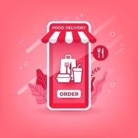 entrega de comida online em aplicativo móvel vetor
