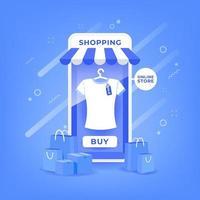 compras on-line no aplicativo móvel vetor