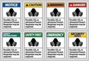Sinal de ppe possível CO2 ou respirador com presença de amônia pode ser necessário vetor