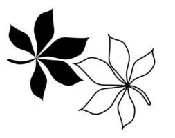 contorno e silhueta de uma folha de um castanheiro vetor