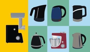 conjunto de utensílios de cozinha. chaleira elétrica, picador de carne e processador de alimentos vetor