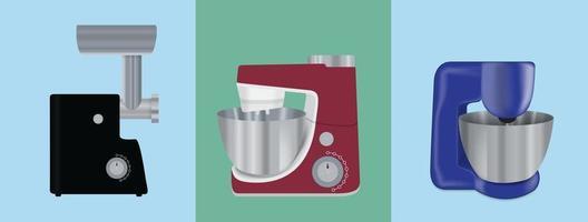 conjunto de utensílios de cozinha. batedeira elétrica, picador de carne e processador de alimentos vetor