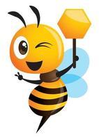 Desenho animado fofa abelha segurando uma tabuleta de favo de mel mostrando a mão da vitória vetor