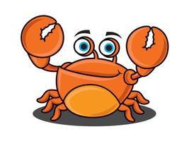 desenho animado fofo caranguejo levantando grandes garras vetor