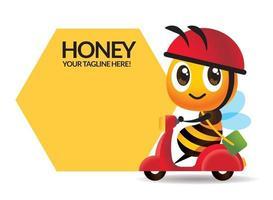 desenho animado fofa abelha andando de scooter com grande letreiro em forma de pente vetor