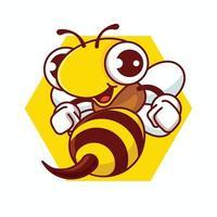 desenho animado feliz abelha com ferrão afiado segurando os punhos vetor