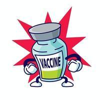 personagem de garrafa de vacina forte covid19 de desenho animado energizado em mascote de vetor de fundo de explosão