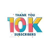 obrigado cartão comemorativo de 10.000 assinantes para 10.000 assinantes sociais vetor