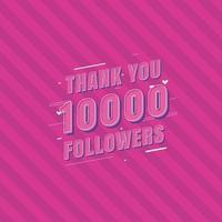 obrigado cartão comemorativo de 10.000 seguidores para 10.000 seguidores sociais vetor