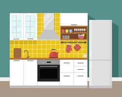 cozinha interior moderno em estilo simples vetor