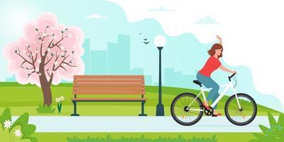 mulher andando de bicicleta no parque na paisagem da primavera vetor