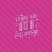 obrigado cartão comemorativo de 10 mil seguidores para 10 mil seguidores sociais vetor