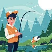 homem feliz pegando peixes no rio no verão vetor
